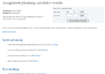 Assignment planning calculator screenshot